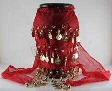 Chal de danza gitana ROJO bufanda de danza del vientre de oriente medio