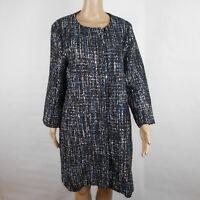Julie Brown NYC Womens Jacket Ollie Blue Oxford Tweed 3/4 Sleeve Full Zip Large
