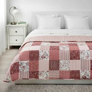 Ikea VÅRRUTA Bedspread Quilt Quilted, White/Pink for Queen/King Bed