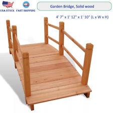 """Outdoor Patio Garden Bridge with Handrails in Solid Wood 4' 7"""" x 1' 12"""" x 1' 10"""""""