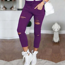 WOMEN HIGH WAISTED SKINNY JEANS RIPPED JEGGINGS KNEE PANTS TROUSERS