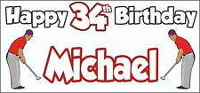Golf Golfer Mens 34th Birthday Banner x2 Party Decorations Personalised ANY NAME