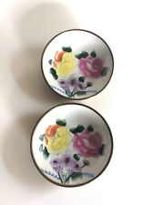 Pair of Vintage Enamel Chinese Plates in Bronze Surround, Floral