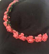 Rose Flower Hairband Floral Crown Headband Garland Wedding Party  Pink