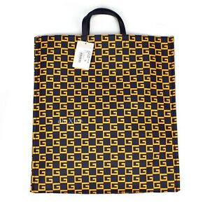 NWT $980 GUCCI Navy Orange Square G Logo Print Coated Canvas Tote Bag AUTHENTIC