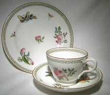 ART Nouveau Royal Worcester TEA TRIO Fiori & Farfalle Confine Greco Chiave