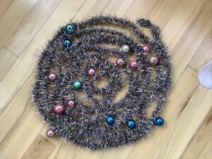 Vintage Christmas Tinsel Garland Strand With Glass Ornaments-