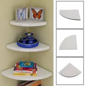 Set of 3 White Floating Wall Corner Shelves Shelf Unit Storage Display Bookcase
