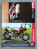 APRILIA 1000 TUONO FACTORY Motorcycle Magazine Page Sales Advertisement Brochure
