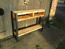 Bespoke H80 x W100 x 25cm rustic industrial steel console Hall table shelves