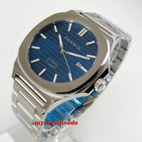 44MM parnis blue dial date luminous sapphire crystal miyota automatic mens watch
