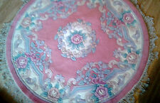Brand NEW 100% Wool CHINESE Rug ROUND 4X4 120 CM X120CM  DUSKY PINK Rose Floral