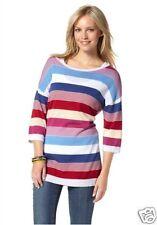 Lange gestreifte Damen-Pullover aus Baumwollmischung