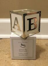 NEW Pottery Barn Kids Baby Monogram Enamel Block Coin Bank SILVER **Issue**