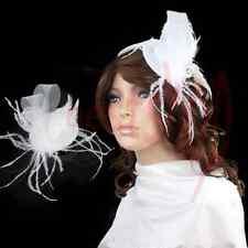 White Feather Clip Mini Top Hat Fascinator Burlesque