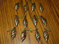 (12) VINTAGE Mini Christmas Ornaments - Spiral Design Blow Mold -Green, Red, etc