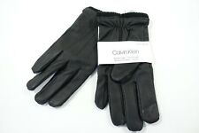 CALVIN KLEIN CK LARGE XL FAUX LEATHER TOUCHSCREEN TACTILE KNIT CUFFS GLOVES NWT
