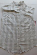 MERONA Women's Sleeveless Button Up Plaid Shirt GRAY Size Medium. New with tags.