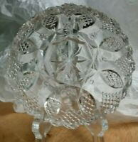 Vintage pressed glass clear crystal candy or nut dish, very sparkly