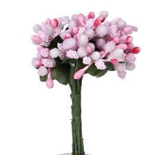 12 Bouquet Mini Artificial Flower Stamen Pearl Wedding Sugarcraft Decor Pink