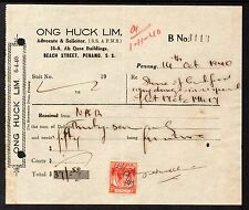 1940 Revenue Receipt Franked with KGV1 6c Straits from Penang.