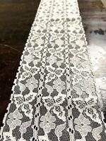 Vintage White Floral Lace Trim On Bridal Tulle Triple Row Insert Edge 100mm