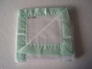 Baby bedding Handmade Lovely Mint Green Satin with White Fleece Baby Blanket