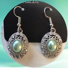 "Paparazzi ""Good Luxe To You"" Green Faux Pearl Earrings White Rhinestones"