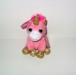 """RUSS LIL PEEPERS UNICORN PINK SPIRIT 4"""" PLUSH CLIP ON NEW WITH TAG"""
