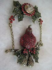 """HEIDI DAUS """"First Day Of Christmas"""" Partridge In A Pear Tree Pin (Orig.$199.95)"""