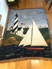 Warren Kimble Sailboat Coastal Breeze Lighthouse Throw Blanket Tapestry 68 x 48