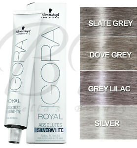 SCHWARZKOPF Igora Royal Absolutes Silverwhite 60ml - Silver Grey Lilac *NEW*