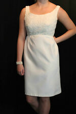 S OFF WHITE HEAVY CROCHET BODICE EMPIRE VTG 60s WEDDING COCKTAIL PARTY DRESS
