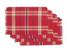 NWT April Cornell Set of 4 Cinnamon Red Plaid Print Fringe Placemats India 14x19