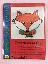 MOUSELOFT STITCHLETS Cross Stitch Kit ~ Noël Écharpe Fox ~ NOËL ~ NOUVEAU