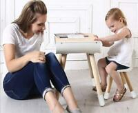 Toddlers Childs Wooden Toddler Table Chair Set With Storage and Adjustable Legs