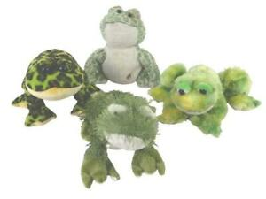 Lot of 4 Ganz Green Frog Plush Toys Fuzzy Tie Die Spotted Stuffed Animals