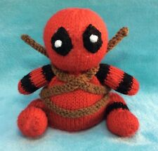 KNITTING PATTERN - Deadpool inspired chocolate orange cover / 13 cms Marvel toy