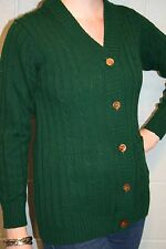 S Green Vtg 60s 70s V-Neck Cableknit Pockets Long Cardigan Tunic Sweater