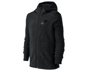 Nike Sportswear Boy's Size: MEDIUM Winterized Black Full-Zip Hoodie Color:Black