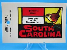 "VINTAGE... ""SOUTH CAROLINA"" - STATE BIRD THE CAROLINA WREN... STICKER / DECAL"