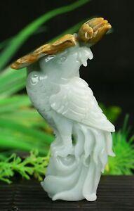 Cert'd 2 Color Natural Grade A Jade jadeite Sculpture Statue parrot a389432