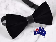 Unisex Men Fashion Velvet  BLACK SOLID Bow Tie Bowtie Craft Wedding Party Ball