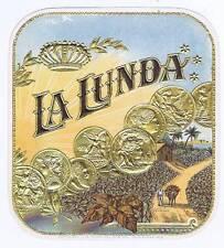 La Lunda, original outer cigar box label, coin