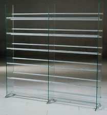TransDeco Clear Glass CD DVD Rack / Stand 792 CD 552 DVD Staorge Rack - NEW