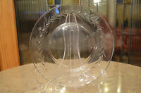 """Vintage Etched Glass Leaf Design 7"""" Plate. Clear Glass Simple Modern Table Decor"""
