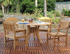 Clayton Premium Grade A Teak Outdoor 5-PC Dining Set (4-Chairs and Round Table)