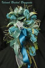 Bride Silk Wedding Bouquet Turquoise Hlily Rose Custom Design 15 Pc