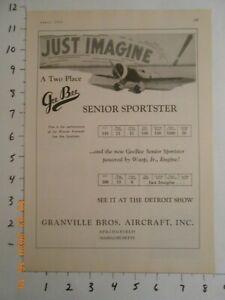 1931 Granville BROS Aircraft Inc Gee Bee Senior Sportster AD Springfield Mass MA
