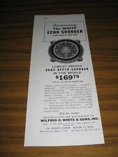 1954 Print Ad White Echo Depth Sounder Marine Boston,MA